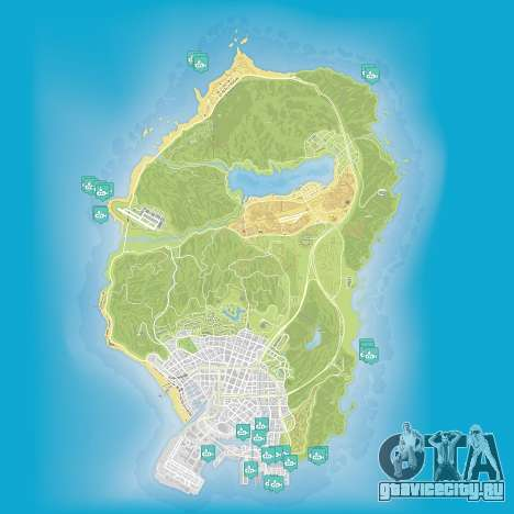 Карта частей подводной лодки в Grand Theft Auto 5