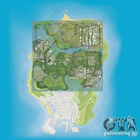 Сравнение размеров карт GTA 5 и GTA San Andreas