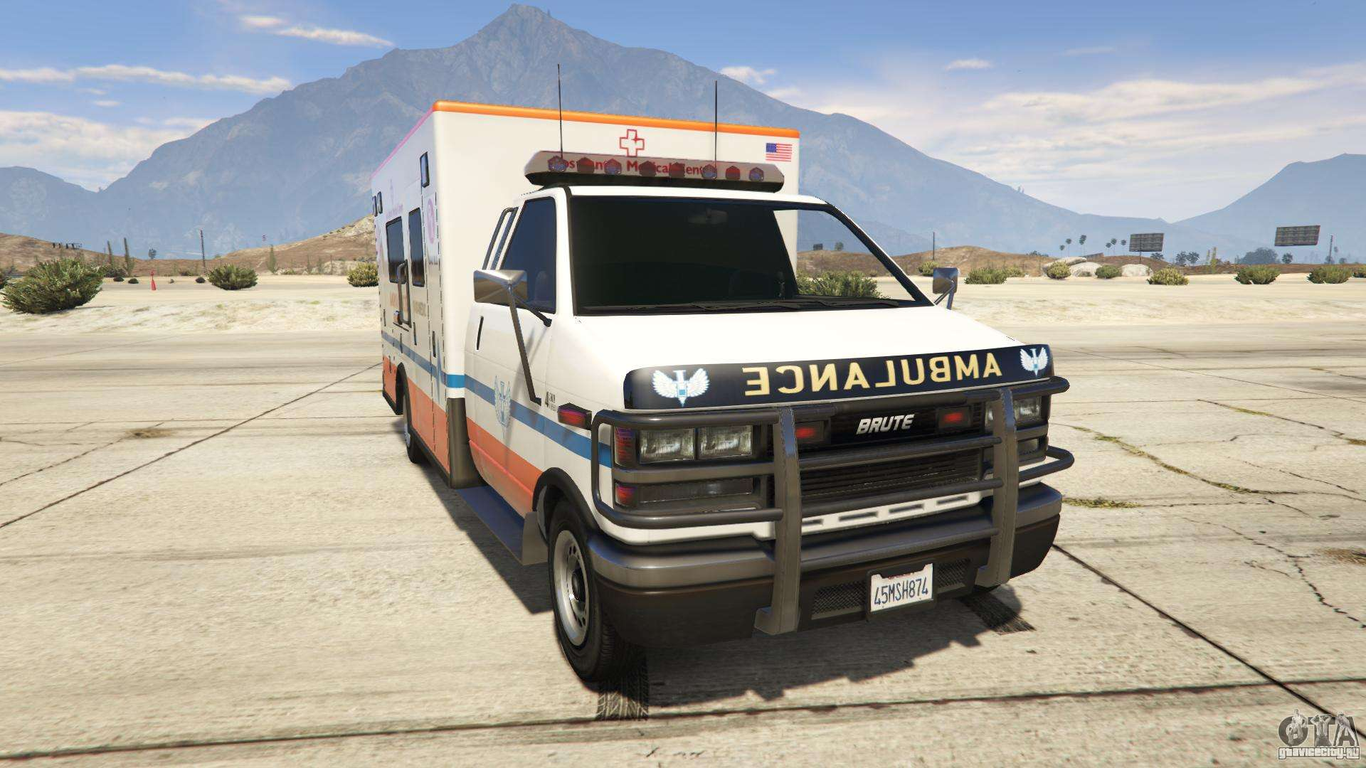 GTA 5 Brute Ambulance Los Santos Medical Center - вид спереди