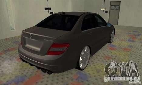 Mercedes-Benz C63 Dub для GTA San Andreas вид сзади слева