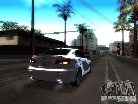 Lexus IS F для GTA San Andreas вид изнутри