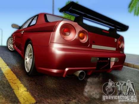 Nissan R34 Skyline GT-R для GTA San Andreas вид слева