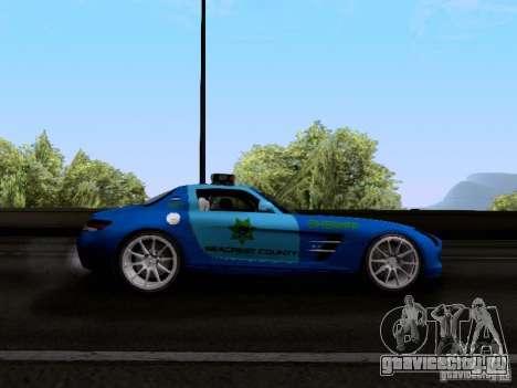 Mercedes-Benz SLS AMG Blue SCPD для GTA San Andreas вид сзади