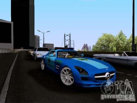 Mercedes-Benz SLS AMG Blue SCPD для GTA San Andreas вид справа