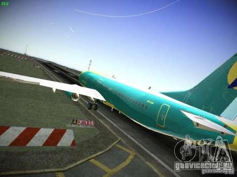 Boeing 737-84R AeroSvit Ukrainian Airlines для GTA San Andreas вид сзади слева