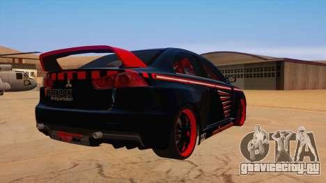 Mitsubishi Lancer Evolution X Pro Street для GTA San Andreas вид справа