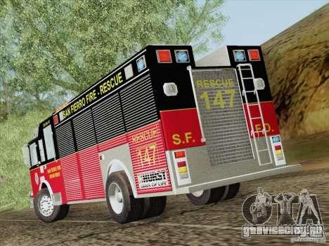 Pierce SFFD Rescue для GTA San Andreas вид сверху