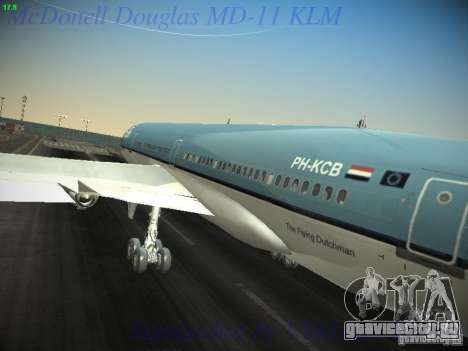 McDonnell Douglas MD-11 KLM Royal Dutch Airlines для GTA San Andreas вид изнутри