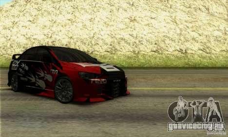 Mitsubishi Lancer Evolution X 2008 для GTA San Andreas вид сзади