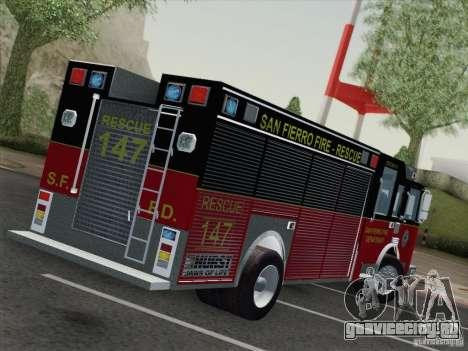 Pierce SFFD Rescue для GTA San Andreas вид сзади слева