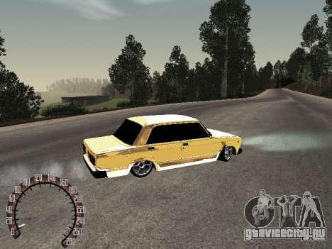 ВАЗ 2107 Gold для GTA San Andreas вид сзади слева