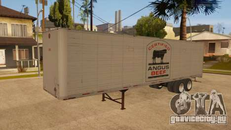 Цельнометаллический прицеп для GTA San Andreas вид сзади