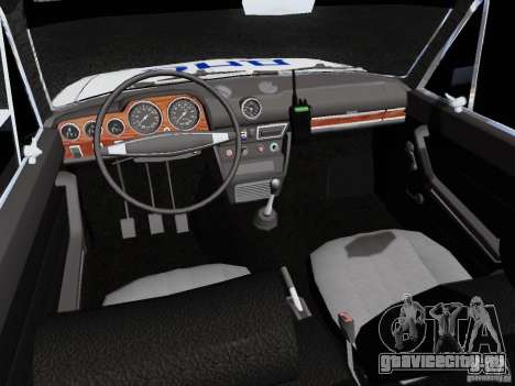 ВАЗ 2106 Полиция для GTA San Andreas вид изнутри