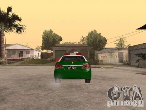 Chevrolet Cruze Carabineros Police для GTA San Andreas вид сзади слева
