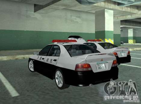 Mitsubishi Galant Police для GTA San Andreas вид сзади слева