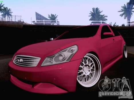 Infiniti G37 Sedan для GTA San Andreas вид снизу
