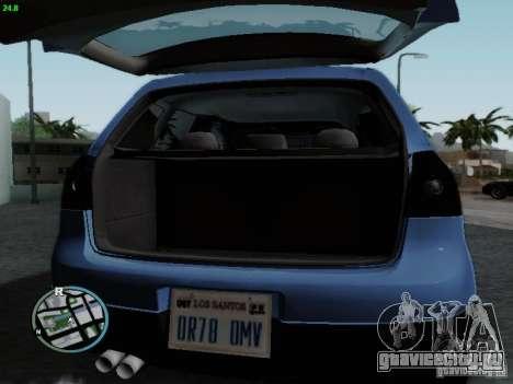 Volkswagen Golf V R32 Black edition для GTA San Andreas вид изнутри