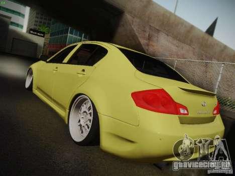 Infiniti G37 Sedan для GTA San Andreas вид изнутри