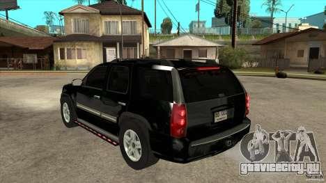 GMC Yukon Unmarked FBI для GTA San Andreas вид сзади слева