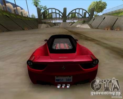 Ferrari 458 Italia V12 TT Black Revel для GTA San Andreas вид сзади слева