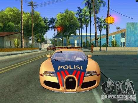 Bugatti Veyron Indonesian Police для GTA San Andreas вид сзади слева