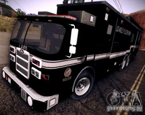 Pierce Contendor LAPD SWAT для GTA San Andreas вид сзади слева