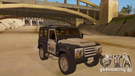Land Rover Defender Sheriff для GTA San Andreas вид сзади