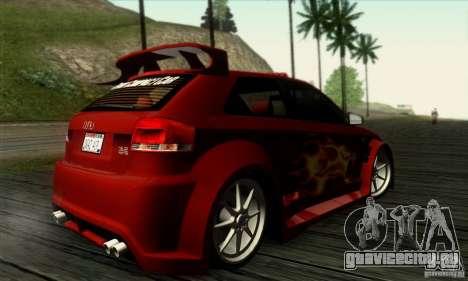 Audi A3 Tunable для GTA San Andreas вид изнутри