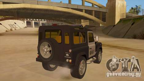 Land Rover Defender Sheriff для GTA San Andreas вид справа