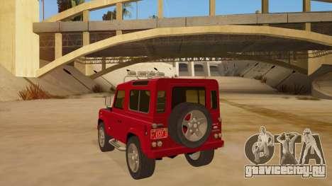 Land Rover Defender для GTA San Andreas вид сзади слева