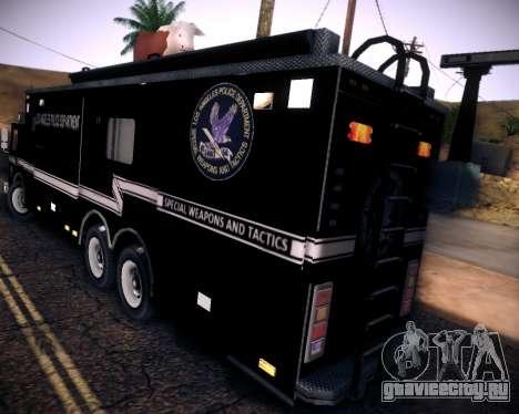 Pierce Contendor LAPD SWAT для GTA San Andreas вид сзади