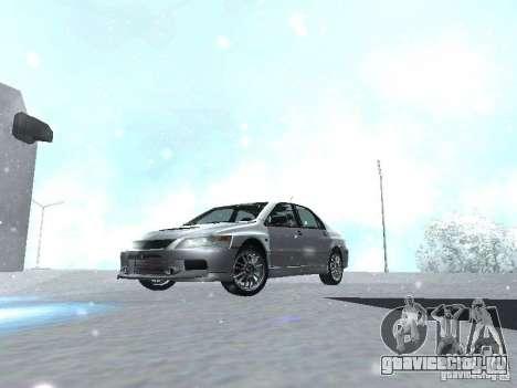 Mitsubishi Lancer Evo IX MR Evolution для GTA San Andreas вид изнутри