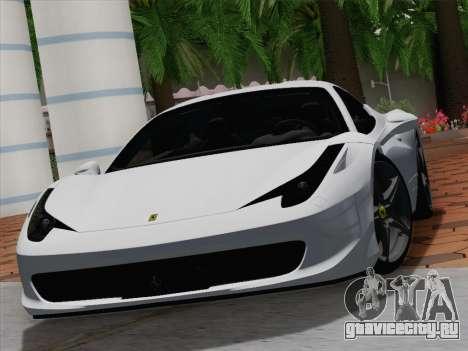 Ferrari 458 Italia 2010 для GTA San Andreas салон