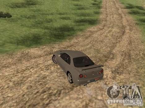 Nissan Skyline GTR R34 для GTA San Andreas вид сзади слева