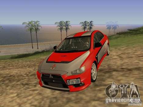 Mitsubishi Lancer Evo X для GTA San Andreas вид сзади