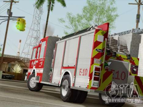 Pierce Saber LAFD Engine 10 для GTA San Andreas вид сзади слева