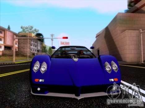 Pagani Zonda C12S Roadster для GTA San Andreas вид изнутри