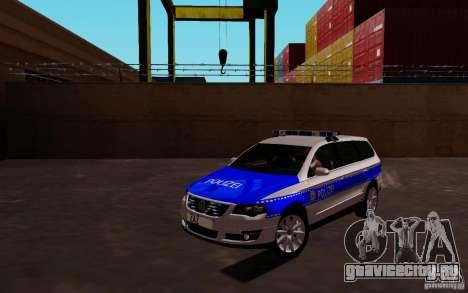 Volkswagen Passat B6 Variant Polizei для GTA San Andreas вид слева