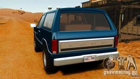 Ford Bronco 1980 для GTA 4 вид сзади слева