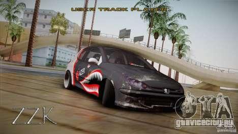 Peugeot 206 Shark Edition для GTA San Andreas вид сзади слева