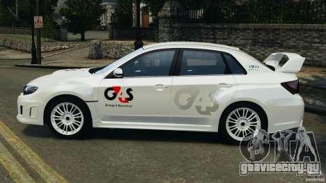 Subaru Impreza WRX STi 2011 G4S Estonia для GTA 4 вид справа
