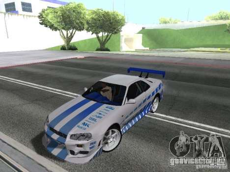 Nissan Skyline GT-R R34 для GTA San Andreas вид слева