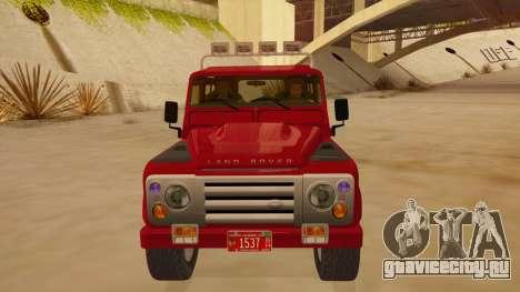 Land Rover Defender для GTA San Andreas вид изнутри