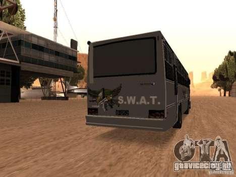 Mercedes Benz SWAT Bus для GTA San Andreas вид сзади слева