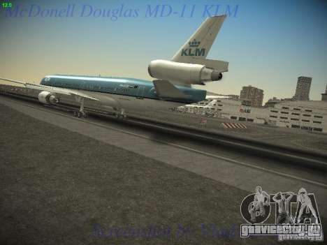 McDonnell Douglas MD-11 KLM Royal Dutch Airlines для GTA San Andreas вид слева