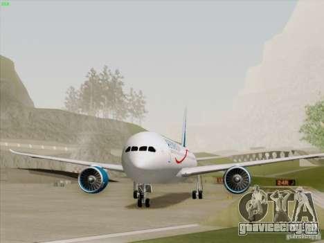 Boeing 787-8 Dreamliner AeroMexico для GTA San Andreas вид сзади слева