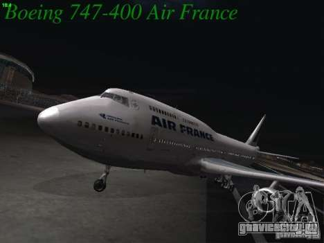 Boeing 747-400 Air France для GTA San Andreas вид слева