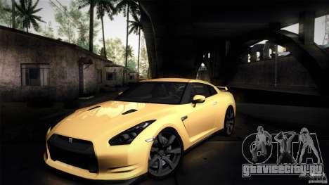 Nissan GT-R35 v1 для GTA San Andreas вид изнутри