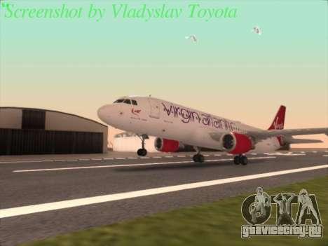 Airbus A320-211 Virgin Atlantic для GTA San Andreas вид сзади слева
