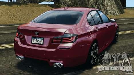 BMW M5 2012 для GTA 4 вид сзади слева